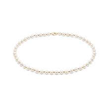 9ct Yellow Gold Bead & Pearl Necklace Strand 7-7.5mm