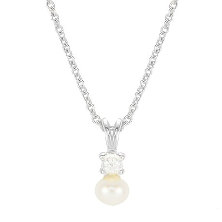 Silver Pearl & Cubic Zirconia Simple Pendant - Small