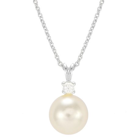 Silver Pearl & Cubic Zirconia Simple Pendant - Large