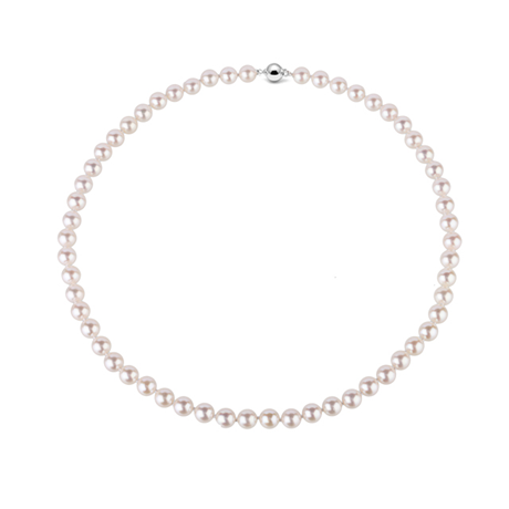 9CT WHITE GOLD 7-7.5MM AKOYA PEARL STRAND NECKLACE