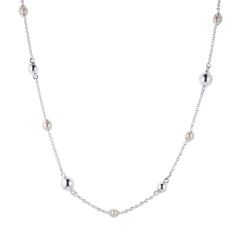 Silver Fresh Water Pearl Beaded Necklace