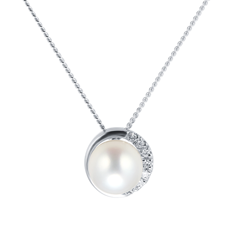 9ct White Gold Cultured Fresh Water Pearl & Diamond Pendant