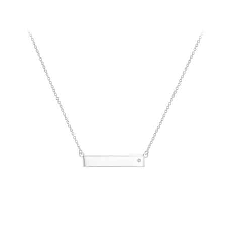 Silver Bar Cubic Zirconia Necklace