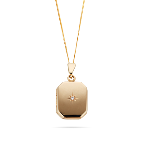 9ct Yellow Gold Rectangle Diamond Set Starburst Locket