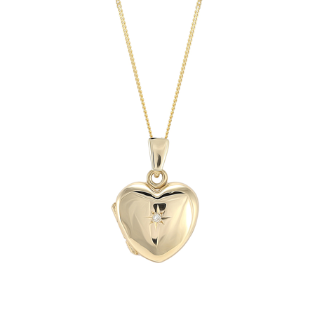 9ct Yellow Gold Diamond Set Heart Locket
