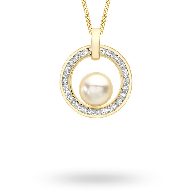 9ct Yellow Gold Pearl & Cubic Zirconia Halo Pendant