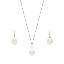 For Her - Silver Pearl Cubic Zirconia Drop Pendant & Earrings Set - GD712E