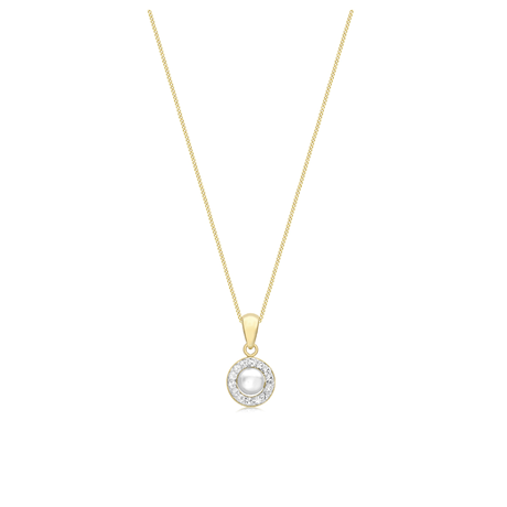 9ct Yellow Gold Pearl & Crystal Pendant