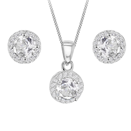 Sterling Silver Cubic Zirconia Round Brilliant Cut Halo Set