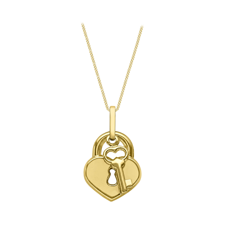 9ct Yellow Gold Padlock Pendant Necklace
