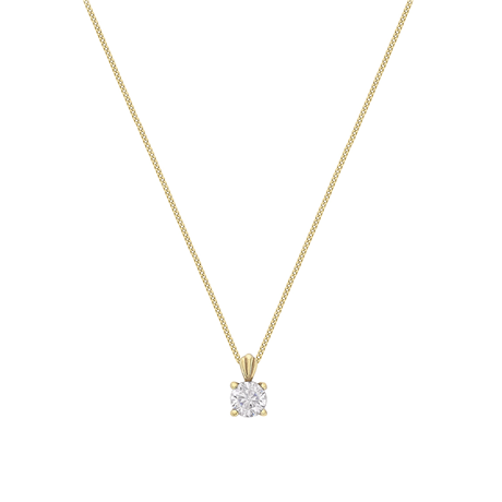 9ct Yellow Gold 4mm Round Crystal Pendant Necklace