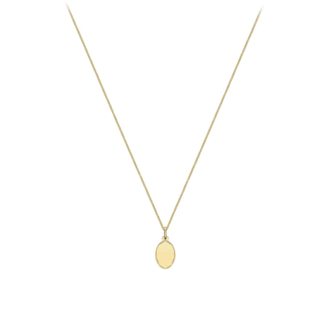 9ct Yellow Gold Oval Pendant Necklace