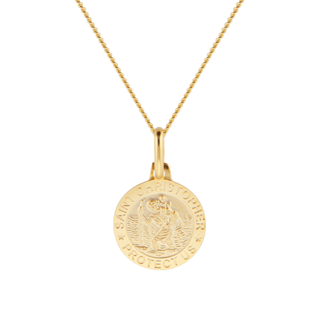 9ct Yellow Gold St Christopher Pendant Necklace