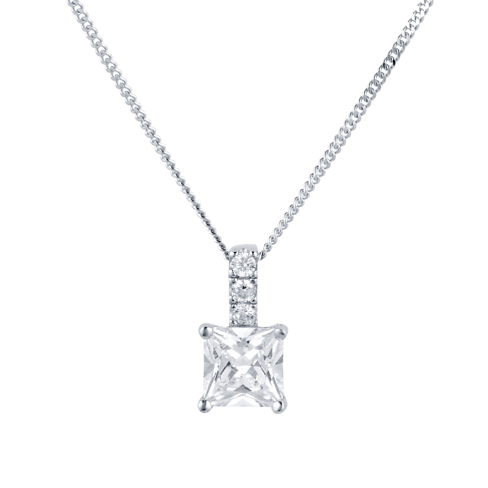 crislu platinum finish cubic square in zirconia with silver necklace sterling