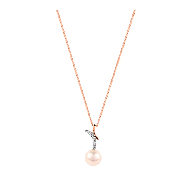 9ct White And Rose 7-7.5mm Pearl 0.015ct Diamond Pendant