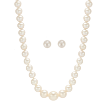 9ct White Gold Graduated Pearl Strand and Stud Set
