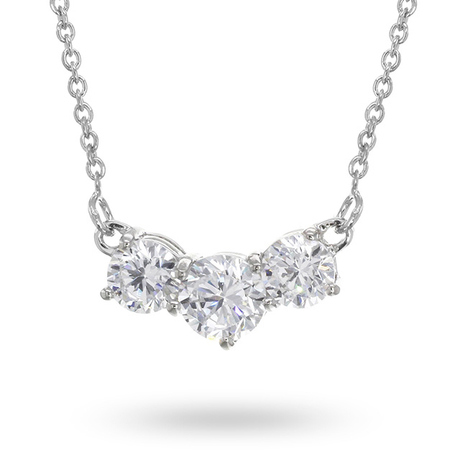 Silver Cubic Zirconia Three Stone Necklace