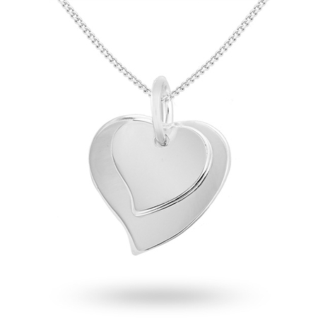 Silver Double Heart Charm Pendant