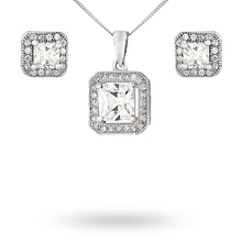 For Her - Silver Cubic Zirconia Square Halo Pendant And Stud Set - 14700089