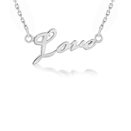 Sterling Silver 'Love' Necklace