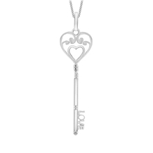 Sterling Silver Heart Love Key Necklace