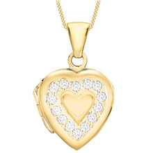 Yellow Gold Plated Cubic Zirconia Edge Heart Locket