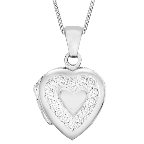 Sterling Silver Cubic Zirconia Edge Heart Locket