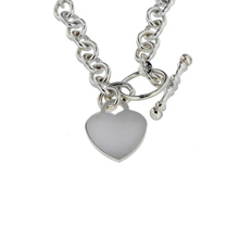 Sterling Silver Heart T Bar Necklace