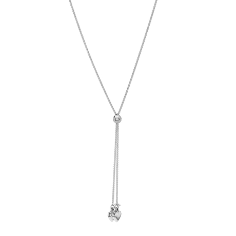 Sterling Silver Double Heart Slider Necklace
