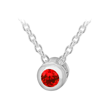 Silver January Red Cubic Zirconia Pendant