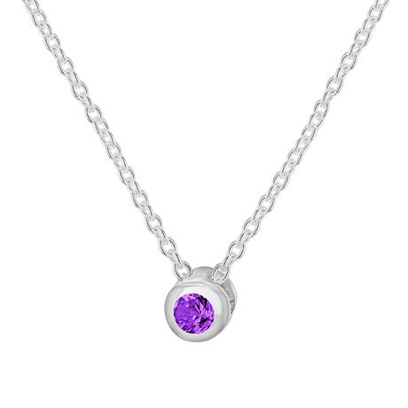 Silver February Purple Cubic Zirconia Pendant