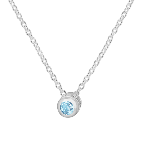 Silver March Turquoise Cubic Zirconia Pendant