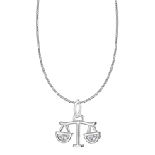 Silver Libra Star Sign Pendant