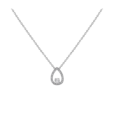 Silver Cubic Zirconia Floating Pear Pendant