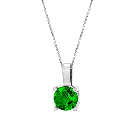 Silver May Green Cubic Zirconia Pendant