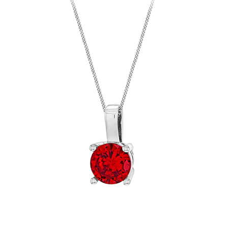Silver July Red Cubic Zirconia Pendant