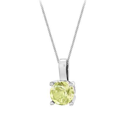 Silver August Lime Cubic Zirconia Pendant