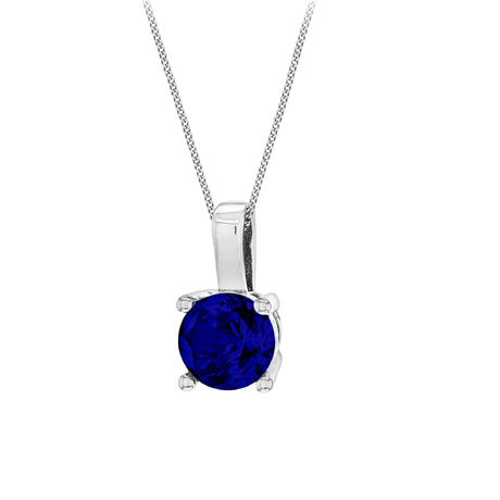 Silver September Dark Blue Cubic Zirconia Pendant