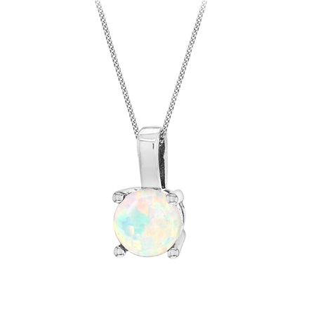 Silver October Artificial Opal Pendant. Opal Size 5mm