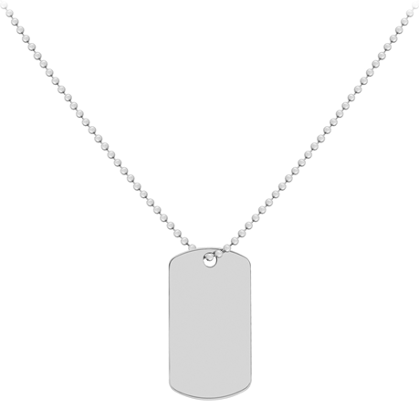 Sterling Silver Mens 20 Inch 19x34mm Dog Tag