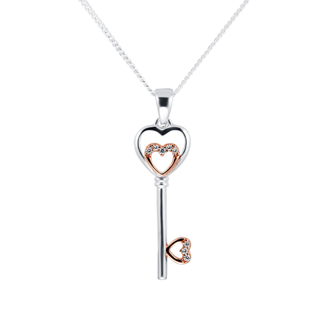 Silver Rose Gold Plated Cubic Zirconia Heart Layered Key Pendant