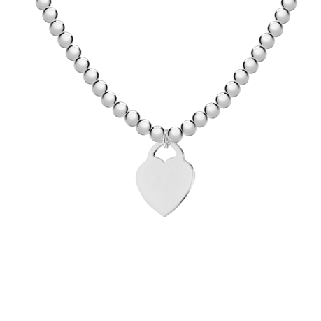 Silver Beaded Heart Tag Necklace
