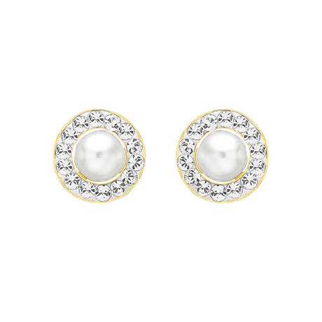 9ct Yellow Gold Pearl and Crystal Stud Earrings