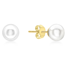 9ct Yellow Gold 6mm Pearl Stud Earrings