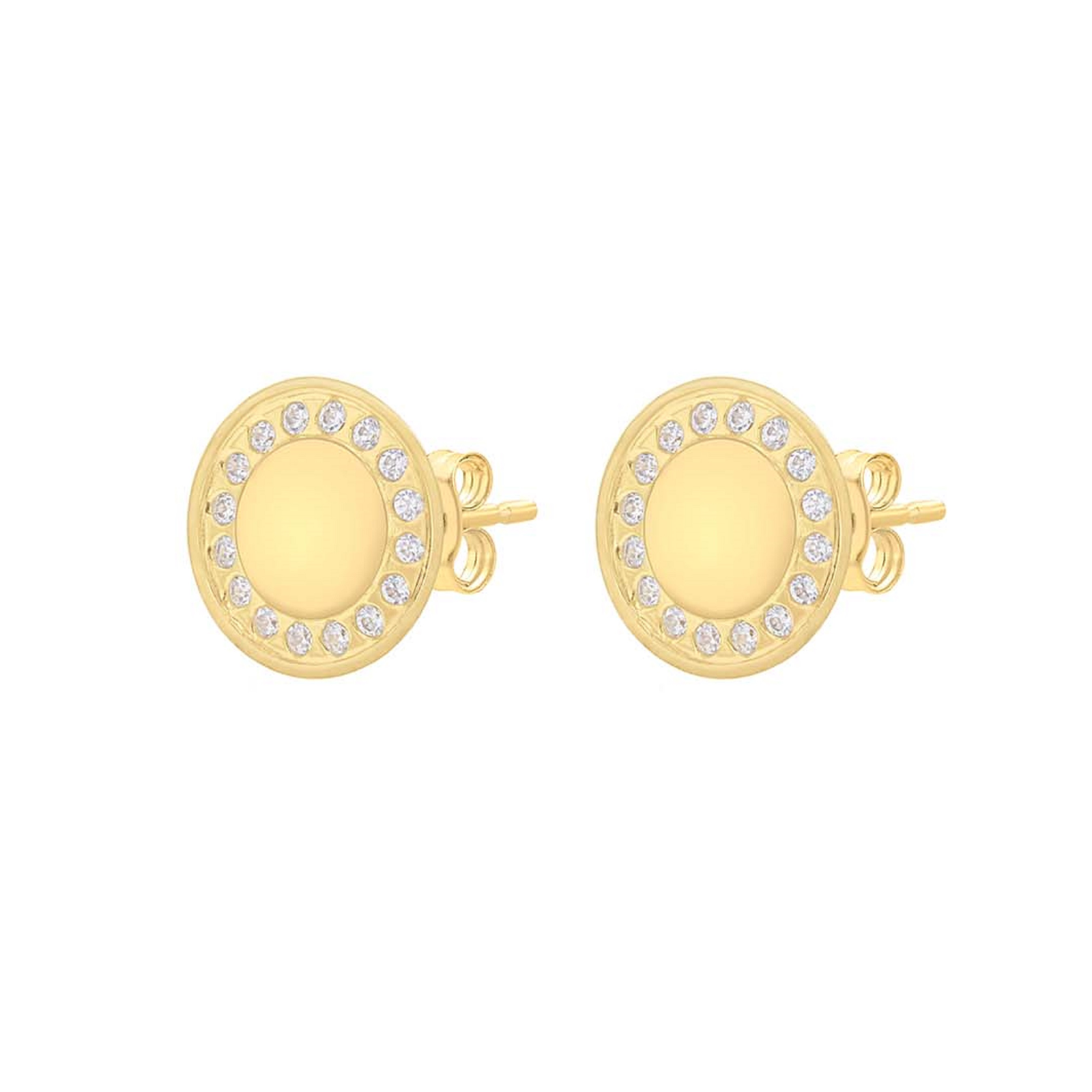d56c44571 9ct Yellow Gold 9.5mm Disc Stud Earrings - £95.00 - Bullring & Grand Central
