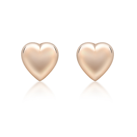 9ct Rose Gold 6.9mm x 7.2mm Puffed Heart Stud Earrings