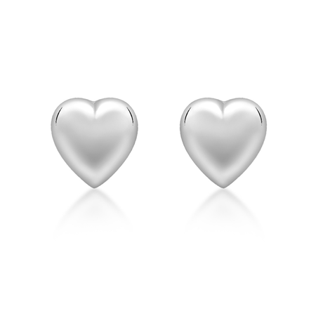 9ct White Gold 6.9mm x 7.2mm Puffed Heart Stud Earrings