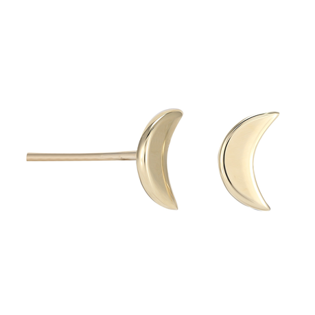 9ct Yellow Gold Moon Stud Earrings