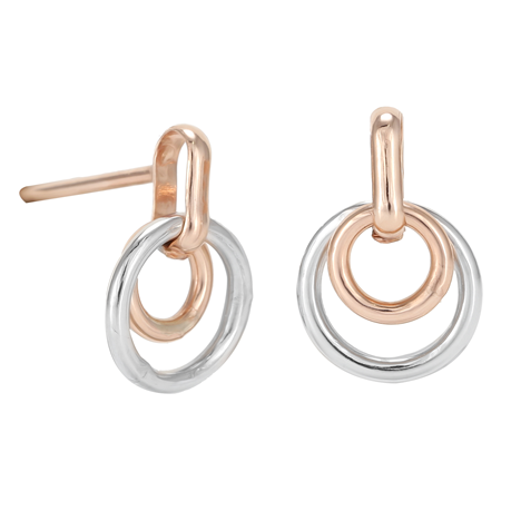 9ct Rose & White Gold Double Circle Stud Earrings