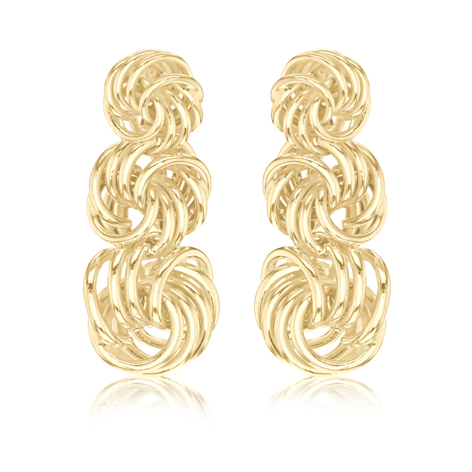 9ct Yellow Gold Graduated Knot Drop Earrings
